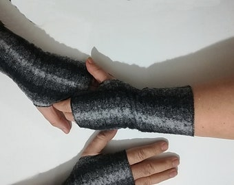 Woolly Gloves, Grey in Black Fingerless Gloves. Soft, Warm Fabric Blend Fingerless mittens for couples