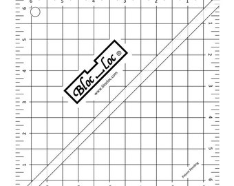 """Bloc Loc Ruler - Half Square Triangle Ruler - Quilting Ruler - 6.5"""" Ruler - Cut HSTs Fast and Easy"""
