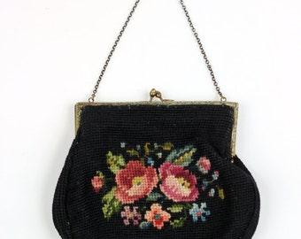 1930s Floral Needlepoint Brass Kisslock Handbag