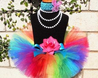 "Girls Tutu - Rainbow Birthday Tutu - Imagine - Sewn 6"" Infant Tutu & Butterfly Headband Set - up to 24 months - Baby Toddler Tutu Skirt"