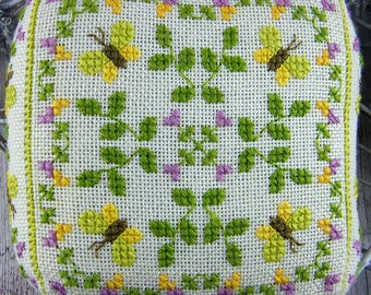 Summertime Pincushion. Counted Stitch Pincushion Kit. Square Pincushion. Stitch on evenweave with stranded cotton. Counted thread stitches.
