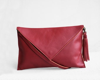 Red leather clutch, evening leather clutch, leather clutch bag, envelope clutch, red bag, red  leather bag, wedding clutch, red formal bag