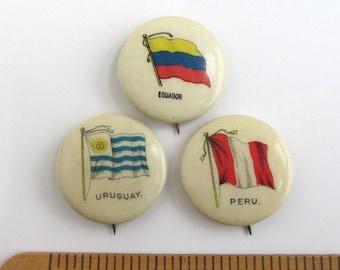 3 Antique Pinback Buttons - Equador, Peru & Uruguay, Vintage Sweet Caporal Cigarette Flag Pins