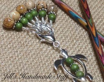 Sea Turtle Stitch Marker Holder & Snag Free Stitch markers- Knitting Gift