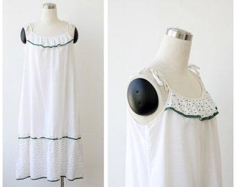1970's Sundress Strap Dress Cotton Tent Dress White Dress Summer Dress White Cotton Dress M L Prairie Boho Dress Festival Dress Beach Dress