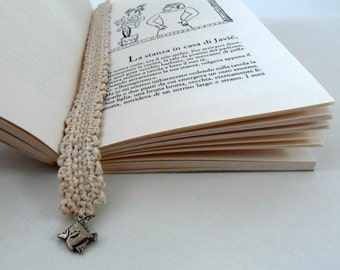 Cream crocheted bookmark with a fish nautical style. 100% recycled bookmark for book lovers with a charm