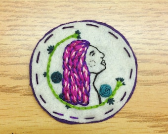 Hand Embroidered Profile of Pink haired Lady