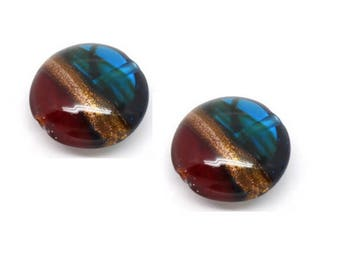 Set of 2 colorful 20 mm x 10 mm lampwork beads