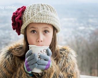 Crochet Hat Pattern: 'Vintage Twist Blossom' Crochet Cloche, Crochet Flower, Winter Fashion