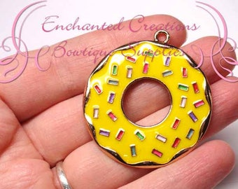 """2"""" Yellow with Multicolor Sprinkles Sweet Treat Donut, Chunky Pendant, Bookmark, KeyChain, Bookmark, Zipper Pull, Planner Charm, Purse Charm"""