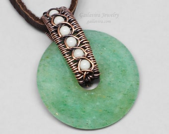 Copper, White Quartz and Green Aventurine Donut Necklace Pendant - CLEARANCE