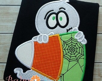 ON SALE Ghost on Candycorn Applique Design 4x4, 5x7, 6x10, 8x8