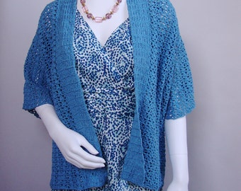 Crochet Cardigan, Kimono Cardigan, Cardigan Women, Aqua Cardigan, Women's Cardigan Sweaters, Hemp Cardigan, Available in S/M and M/L