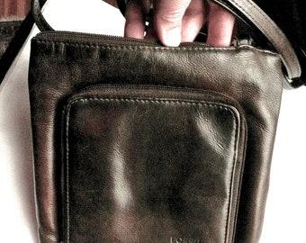 Sac à main Vintage - fossile Shoulder Bag - Sac à main femme sac à main - portefeuille de voyage avec sac à main - cuir marron - petit sac spacieux - lissent la Texture