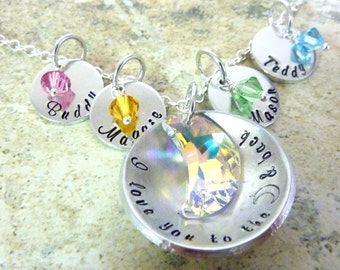Personalized I love you to the moon and back Mommy necklace Swarovski layered Hand stamped jewelry