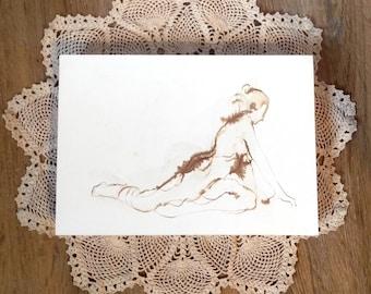 Original Yoga Drawing, Pigeon Pose, Female Nude Figure Drawing, Yoga Art, Yoga Studio Decor, Artist Michelle Arnold Paine