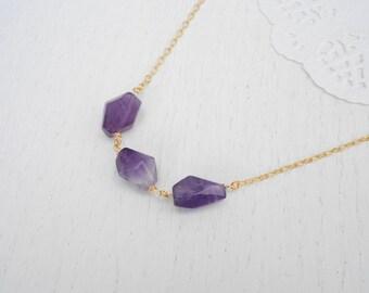 Chunky gemstone necklace, Gold amethyst necklace, February birthstone