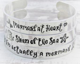 Mermaid Inspired Hand stamped Cuff Bracelet, Mermaid Bracelet, Mermaid Gifts, Siren of the Sea, Childrens Gifts, Mermaid Jewellery