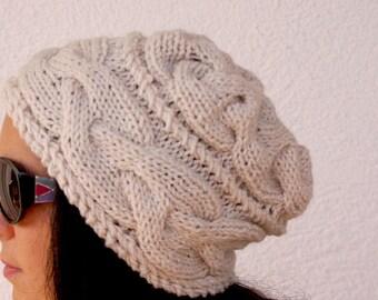 "Women's Crochet Hat: ""CREAM HAT"" Girl Crochet Hat , women beanie, women hat beanie,  Womens Knit Hats , skull caps beanies A131"