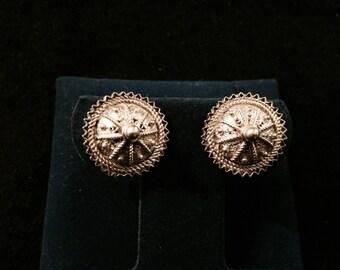 Vintage Filigree Sterling Silver Domed Stud Earrings