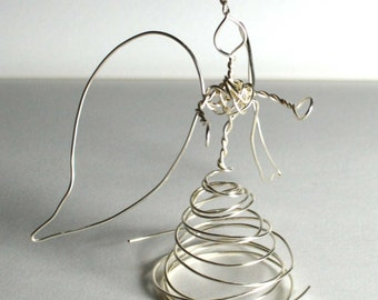 Shiny Silver Tiny Wire Angel - long neck quirky mini angel- tarnish resistant silver ,B small
