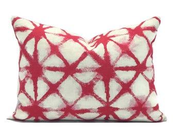 Lumbar Pillow Cover ANY SIZE Decorative Pillow Cover Designer Pillow Pink Pillow Premier Prints Shibori Raspberry
