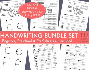 Handwriting Set Bundle; Beginner, Preschool, PreK Kindergarten Tracer Starter Dot Alphabet Writing Worksheets: daycare,homeschool,preschool