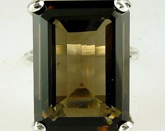 Large Smokey Quartz Emerald Cut Ring .925 Sterling Silver 18X13 MM - 13.19 Carats