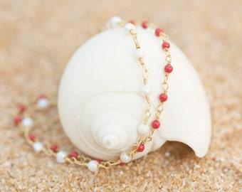 Coral Bracelet Pearl Jewelry Dainty Mermaid Gold Delicate Minimalist Layering Bride Bridal Bridesmaids Beach Wedding Wife Womens Gift Summer