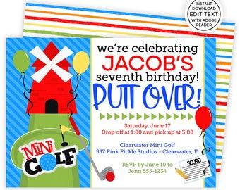 Golf Invitation / Mini Golf Invitation / Golf Birthday Invitations / Mini Golf Invite / Golf Party Invite / Golf Birthday Invitation   537