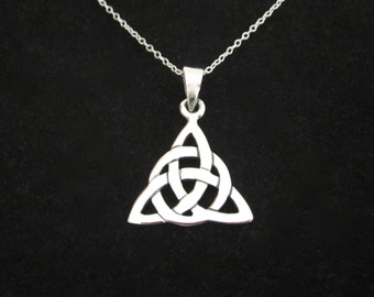 Triquetra Celtic Knot sterling silver necklace with chain, Celtic jewelry