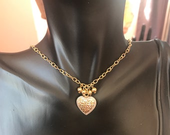 Gold plated sterling silver heart charm necklace