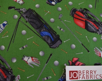 Golf Fabric from the Sports Collection by Elizabeth Studio, Quilt or Craft Fabric, Fabric by the Yard.