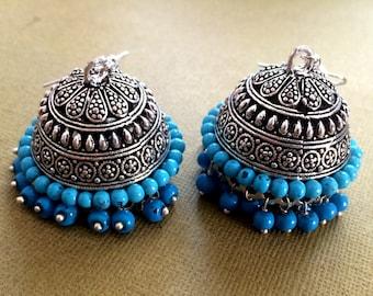 Turquoise Earrings,Large SILVER Jhumkas,Ethnic ,Dome earrings, Silver tribal Jhumkis,Indian Jewelry ,handmade Jewelry Taneesi YJD145TB
