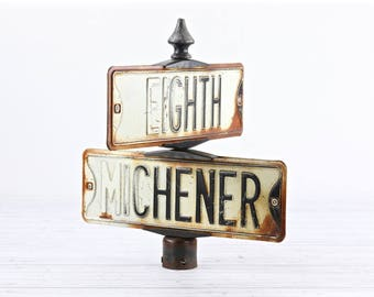 Vintage Street Sign Corner Street Sign Double Street Sign Old Street Signs Street Sign Old Metal Street Sign Eight & Michener Streets