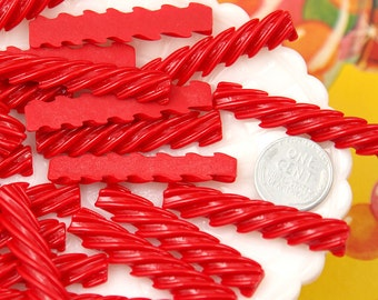Candy Cabochons - 46mm Red Licorice Stick Candy Flatback Resin Cabochons - 6 pc set