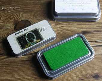 Premium Quality Tin Box Packed Stamp Pad - Rubber Stamp Ink Pad - Stamp Ink - Green