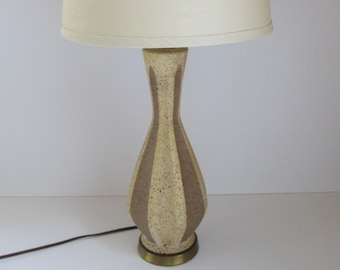 Mid Century Two Tone Stoneware Table Lamp