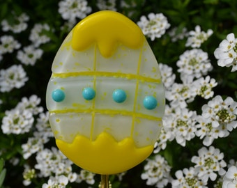 Decorated Easter Egg Plant Stake, Garden Stake, Fused Glass, Easter Gift, Yellow, Yard Decor