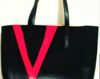 Vegan Black Leather with red and blue design details