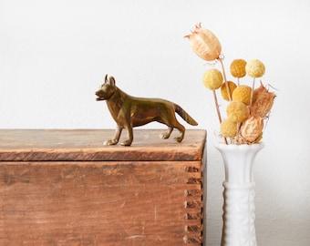 brass German Shepherd, small brass dog, vintage brass animal figurine, mid century paperweight, miniature sculpture
