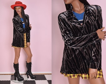 90s Animal Print Velvet Top/ Large/ 1990s/ Long Sleeve/ Button Down