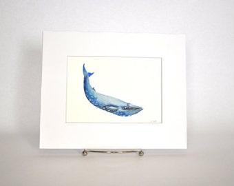 Original Watercolor Blue Whale