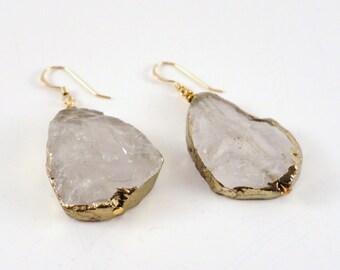 Gold Leaf Earrings, Gold Leaf Quartz, Raw Quartz Earrings, Large Quartz Earrings, Quartz Statement Earrings, Quartz Drop Earrings