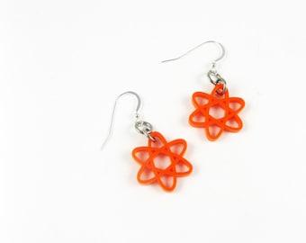 Orange Earrings - Atomic Jewelry for Scientist