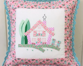 a sweet pink cottage pillow cover 14""