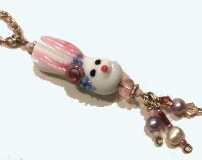 Bunny Necklace, Easter Jewelry, Spring Accessories, Lampwork Glass Bunny in Pastel Colors, Cute Bunny Necklace, Bunny Rabbit Charm