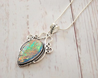 Dichroic Glass Pendant - Dichroic Jewelry - Fused Glass Pendant - Rainbow Necklace, Gift for Her