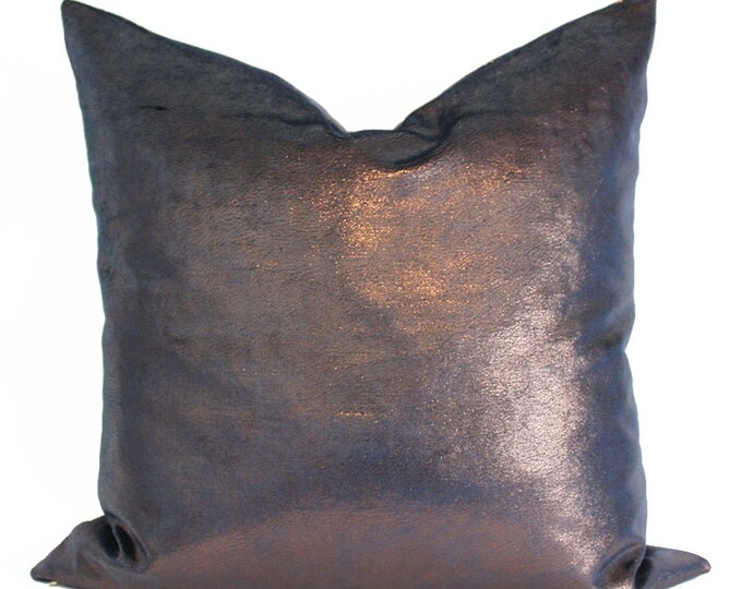 iridescent navy blue and copper velvet metallic pillow cover - COVER ONLY