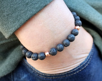 Lava Bracelet - Black Lava Stone Diffuser Bracelet - Unisex Stretch Bracelet - Volcanic Stone Bracelet - Healing Stone - Aromatherapy
